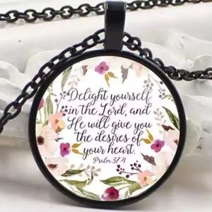 Necklace- NEW- Christian Psalm 37 Delight in Lord